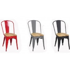 Tolix Metal Chair with Wooden Seat